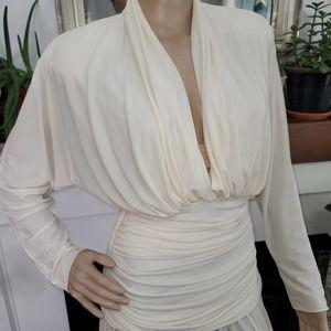 Kira Flowy Retro 90s Style White Midi Dress Medium